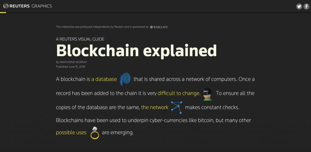 Blockchain explained - visual guide by reuters graphics