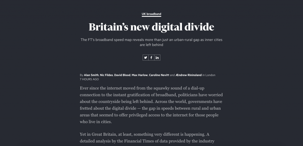 Data investigation about the UK's digital divide by the Financial Times