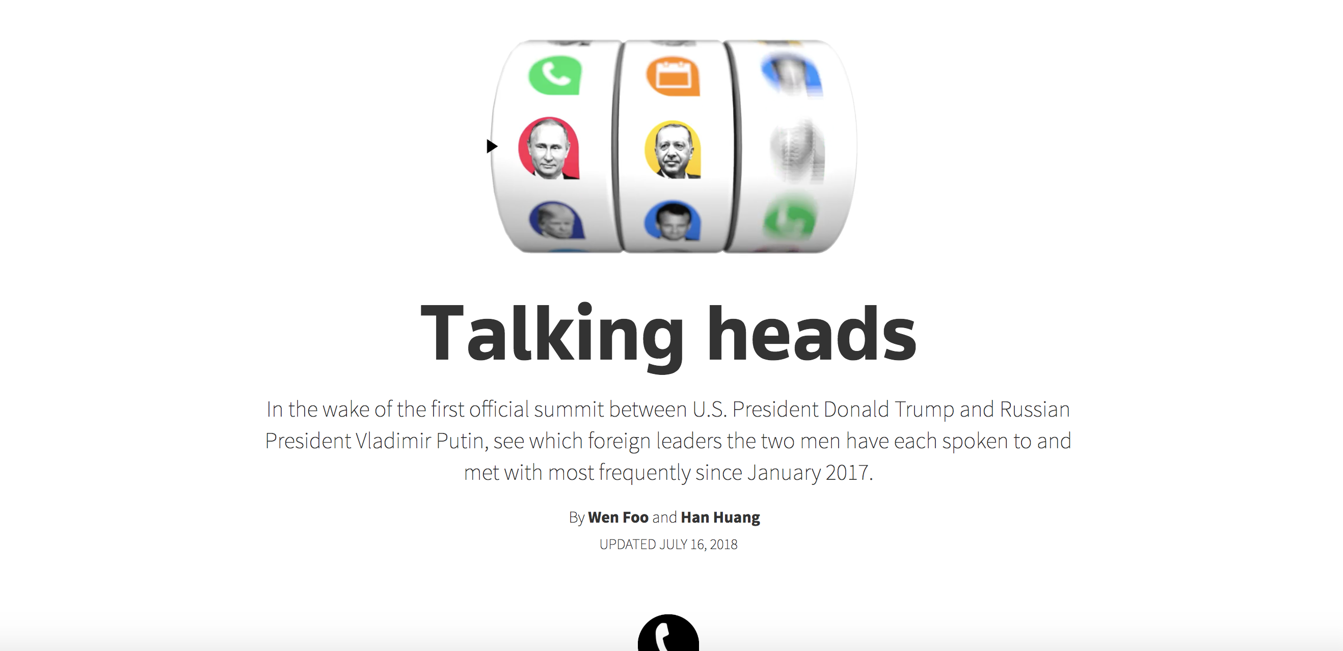 Talking heads by reuters graphics