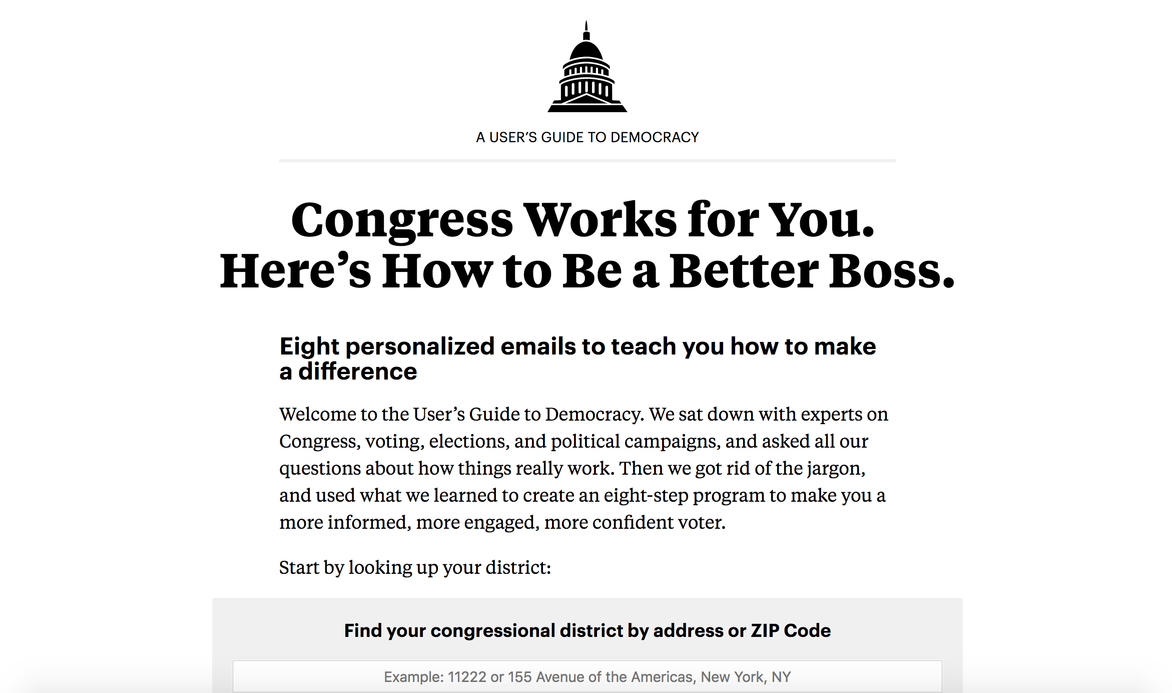 "Propublica personalized newsletter screenshot ""user's guide to democracy"""