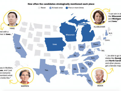 How the Democratic candidates name-drop places